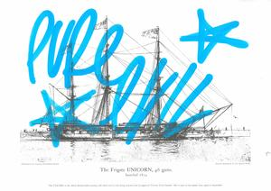 Image of Screen print of the Frigate Unicorn with the tag of Pure Evil DUNIH 2016.39.3