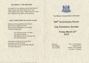 Image of Menu Card, 500th Anniversary of the Dundee Weaver Craft DUNIH 2016.13.2