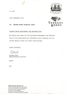Image of Letter relating to the booklet Verdant Works, dated 10th September 1992 DUNIH 2016.38.2