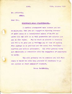 Image of Letter to J. T. Greig, 19th October 1920 DUNIH 2016.11.38
