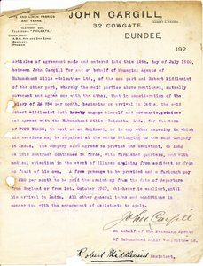 Image of Contract relating to the job offer for Robert Middlemist, 12th July 1920 DUNIH 2016.11.40