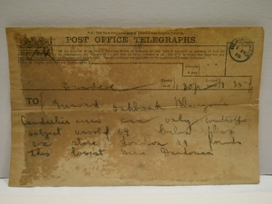 Image of Telegram from Berg & Son to Grimond, 1st February 1915 DUNIH 2017.1.14