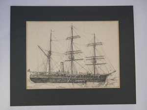 Image of Pencil drawing of RRS Discovery by Johan Briede DUNIH 2017.10