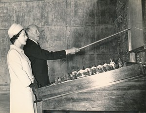 Image of Photograph of the Queen being shown a model of Douglasfield Works, May 1969 DUNIH 2017.16.2.8