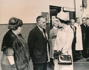 Image of Photograph of the Queen meeting Bob Doyle and Margaret Fenwick, May 1969 DUNIH 2017.16.2.11