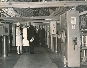 Image of Photograph of the Queen walking through Spinning Department, May 1969 DUNIH 2017.16.2.13