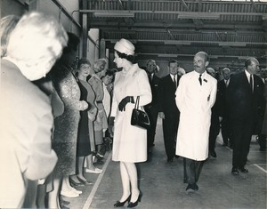 Image of Photograph of the Queen talking to some of the Douglasfield Workers, May 1969 DUNIH 2017.16.2.19