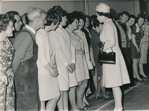 Image of Photograph of the Queen talking to some of the Douglasfield Workers, May 1969 DUNIH 2017.16.2.20