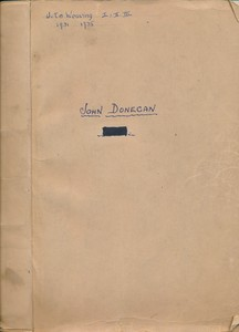 Image of Folder belonging to John Donnegan containing exam questions. DUNIH 2014.15.2
