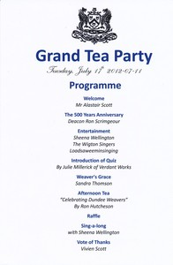 Image of Programme of Grand Tea Party DUNIH 2014.18.2