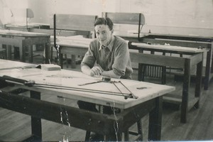 Image of Photograph of Bill Kennedy in Indian drawing office DUNIH 2018.16.4.2