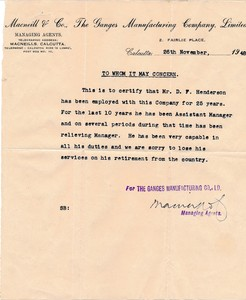Image of Letter of reference for David Henderson relating to 25 years service at Indian jute mill, Macneill & Co. The Ganges Manufacturing Company DUNIH 2018.29.3