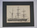 Pencil drawing of RRS Discovery by Johan Briede thumbnail DUNIH 2017.10