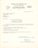 Image of Letter from Livesey & Aspinall re. info on Winding Frame DUNIH 176.3