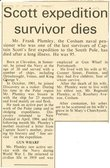 Image of Newspaper cutting relating to the death of Frank Plumley DUNIH 2016.30.43.6