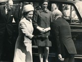 Image of Photograph of the Queen arriving to Douglasfield Jute Works, May 1969 DUNIH 2017.16.2.1