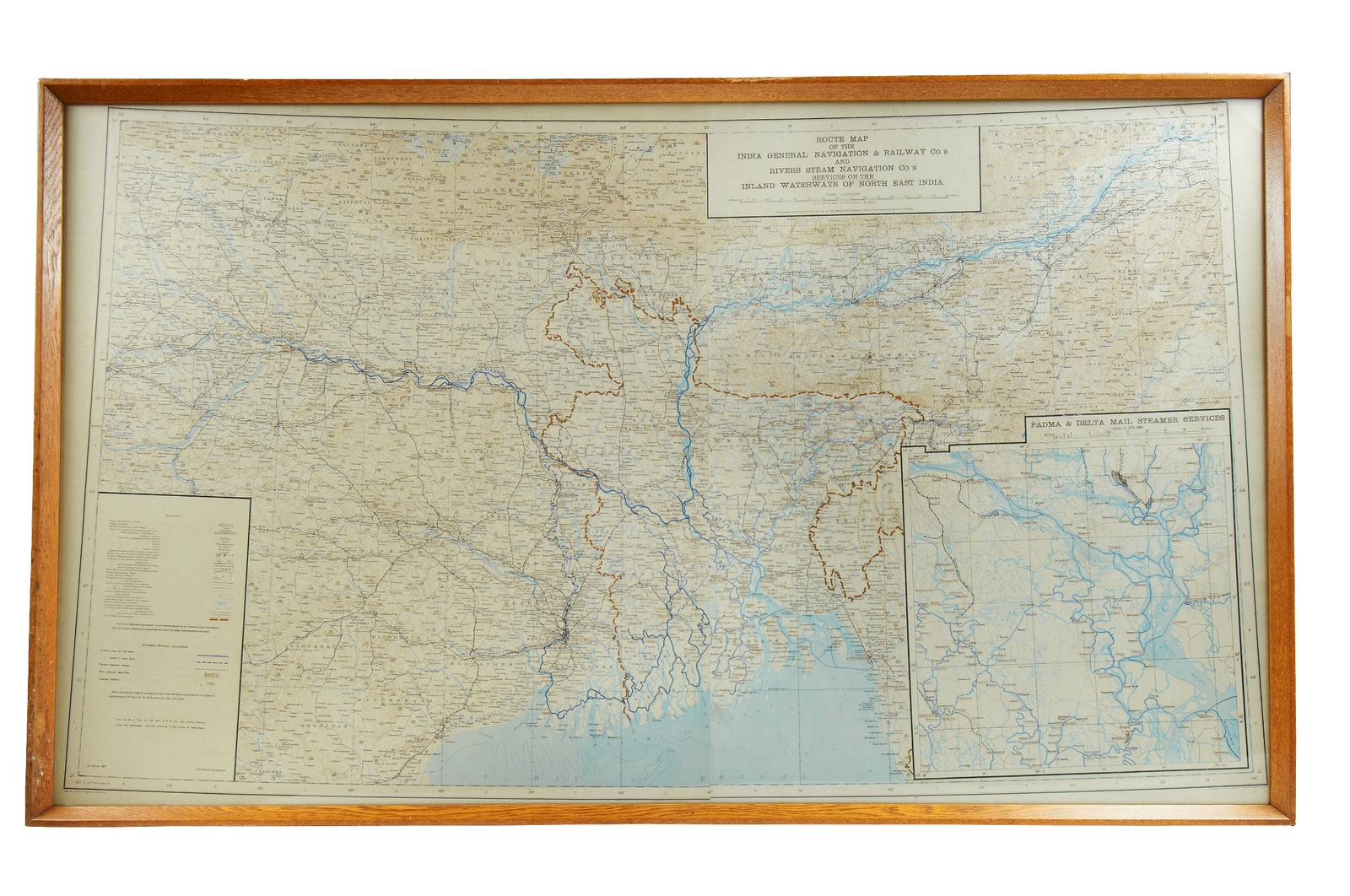Map, Inland Waterways of North East India, 1947 in Jute