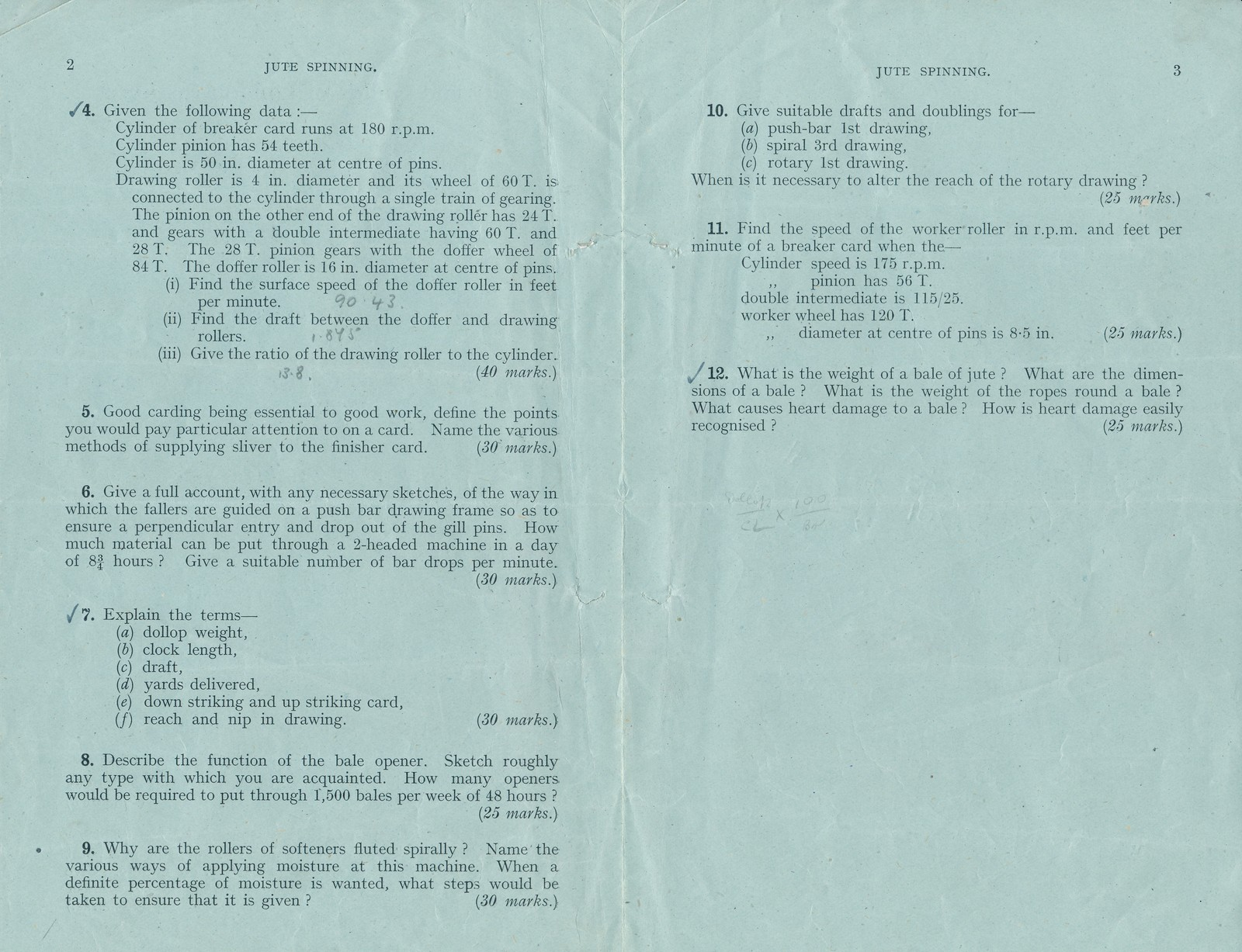 City and Guild Exam Paper- Jute Spinning Grade I, dated 1942