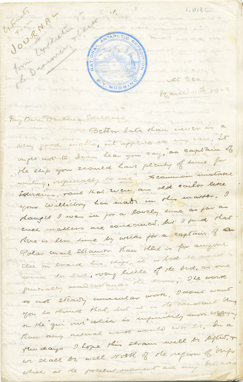Letter from William Colbeck to Edith Robinson DUNIH 1.013