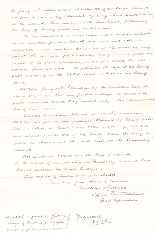 Letter from William Colbeck to Sir Clements Markham DUNIH 1.014