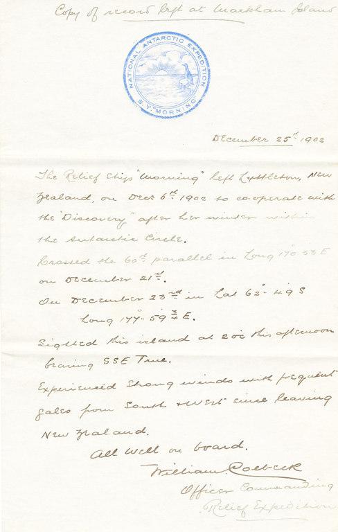 Letter stating Morning's location after leaving Lyttelton DUNIH 1.017