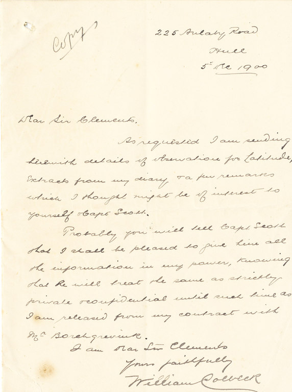 Copy extracts of Colbeck's diary sent to Sir C. Markham DUNIH 1.019