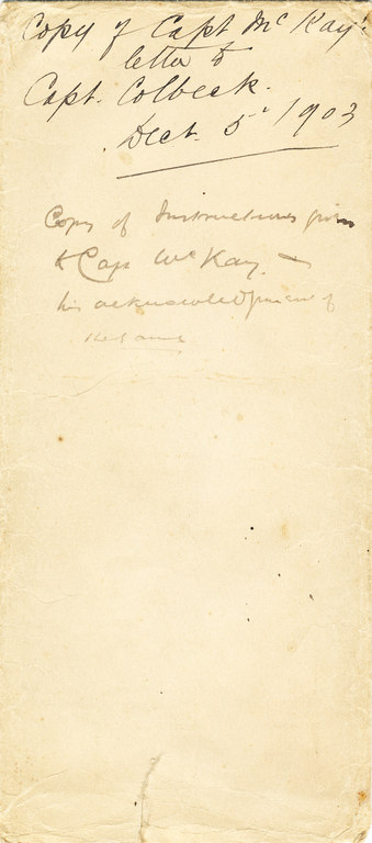 Envelope containg Captain McKay's letter to Colbeck DUNIH 1.027