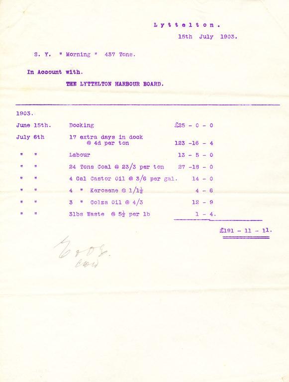 Letter from Lyttelton Harbour re. docking fees DUNIH 1.030