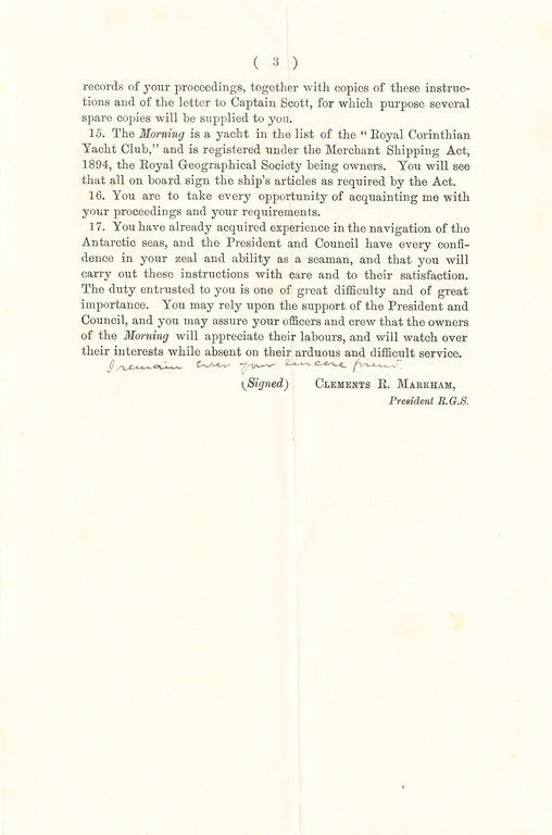 Printed instructions for voyage to Colbeck from Markham DUNIH 1.034
