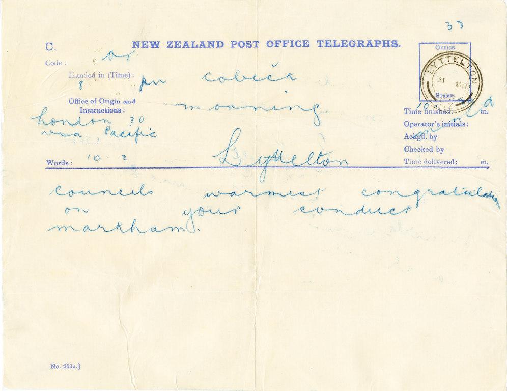 Telegram sent by Markham congratulating Colbeck DUNIH 1.038
