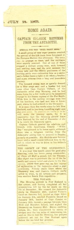 Newspaper cutting re. Colbeck's return home DUNIH 1.050