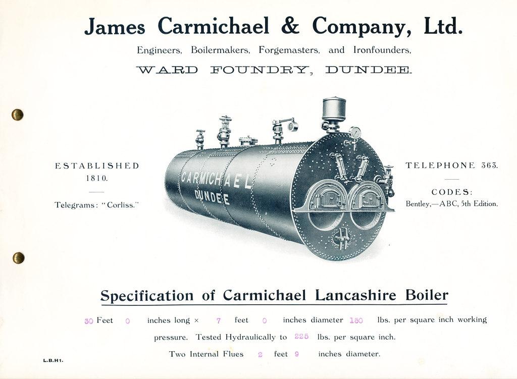 Specification of Carmichael Lancashire Boiler DUNIH 2009.71.2