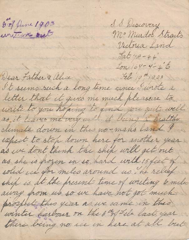 Letter from William Weller to family re. Discovery Expedition DUNIH 2012.39.2