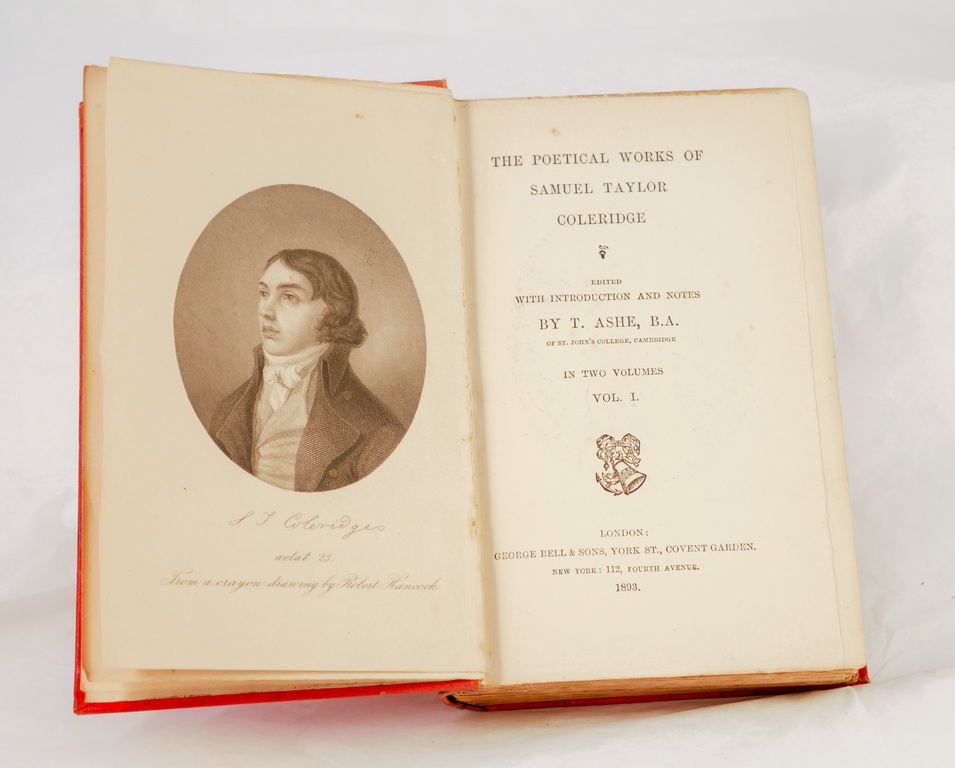 'The Poetical Works of Samuel Taylor Coleridge, Vol I' - Book part of Discovery 1901-1904 library DUNIH 2018.24.19