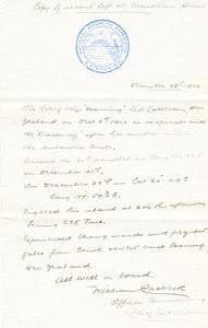 Image of Letter stating Morning's location after leaving Lyttelton DUNIH 1.017