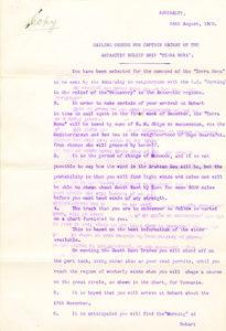 Image of Sailing orders for Captain MacKay re. Terra Nova DUNIH 1.029