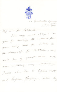 Image of Letter from Markham thanking Colbeck for diary extracts DUNIH 1.059