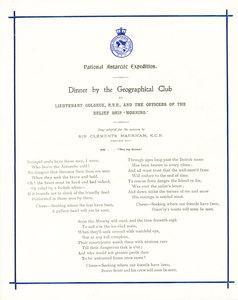 Image of Programme  from dinner held for the crew of the Morning DUNIH 1.061