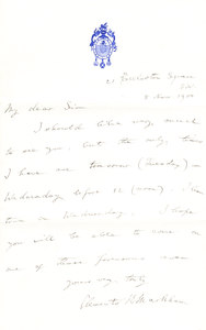 Image of Letter sent to Colbeck re. arranging a meeting DUNIH 1.084