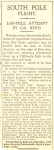 Image of Article re. the Byrd Expedition 1928-1930. DUNIH 1.278