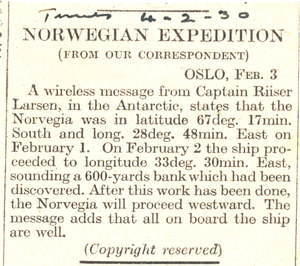 Image of Article re. position of Norvegia in Feb 1930 DUNIH 1.284