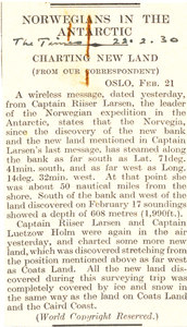 Image of Article re. new land found on Norvegia Expedition DUNIH 1.286