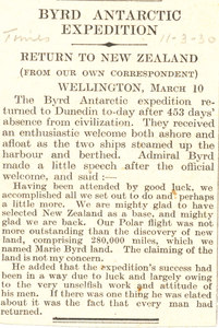 Image of Return of the Byrd Expedition to New Zealand. DUNIH 1.290