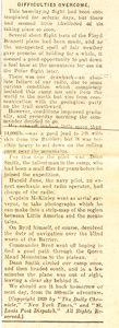 Image of Article re. events within the Byrd Expedition 1928-1930 DUNIH 1.296