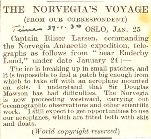 Image of Article reporting on the Norvegia Expedition DUNIH 1.302
