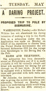 Image of Article re. Wilkins's submarine Arctic Expedition DUNIH 1.320