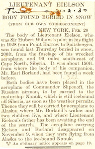 Image of Article re. bodies of Lt. Eielson & companion discovered DUNIH 1.322