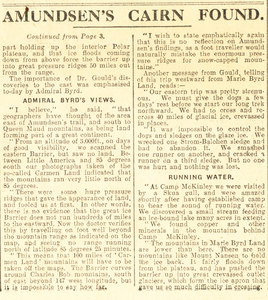 Image of Article re. Byrd Expedition finding Amundsen's Cairn DUNIH 1.329