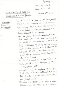Image of Letter re. position of Discovery's winter quarters DUNIH 1.557