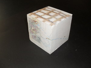 Image of Cube showing the journey of jute from Bengal to Dundee DUNIH 2011.1.8